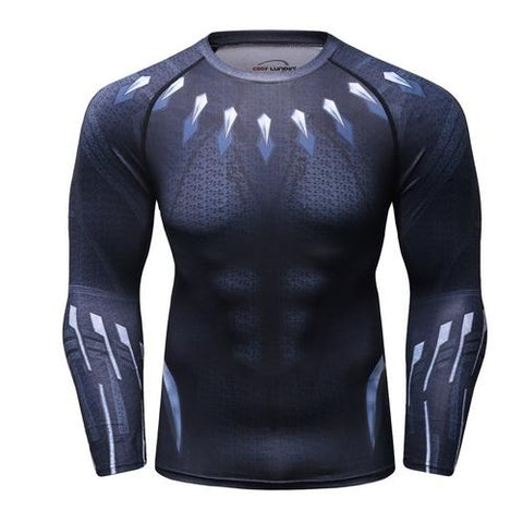 Black Panther Cosplay Training Compression Long Sleeves for Men Fitness 01 - Cosplay Fitness | KiTak