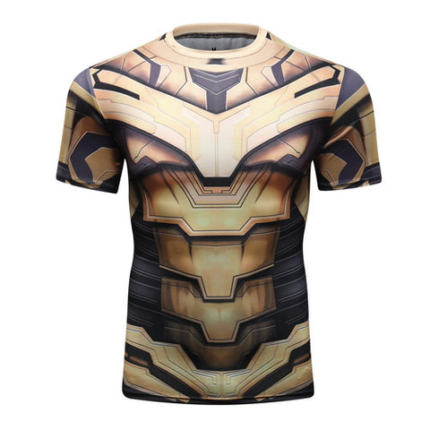 Hero Training Thanos Full Gears Costume Workout Compression T-Shirts for Men  1(2019 Endgame)