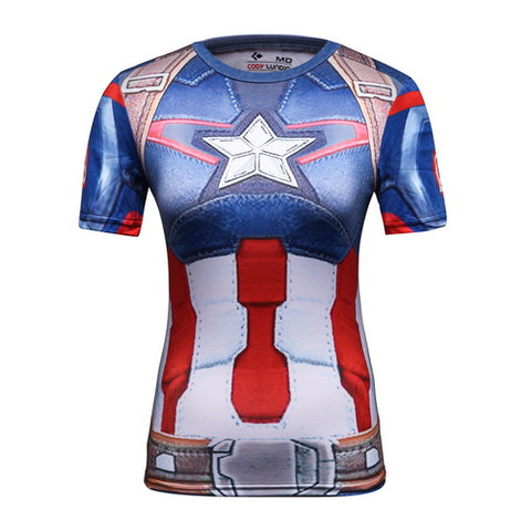 Captain America Cosplay Training Compression T-Shirts for Women Fitness(2015 AGE OF ULTRON)