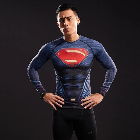 Superman Cosplay Training Compression Long Sleeves for Men Fitness 01