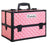 Portable Cosmetic Case with Mirror - Diamond Pink