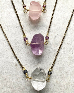 handmade Brass gemstone chokers rose quartz amethyst clear quartz