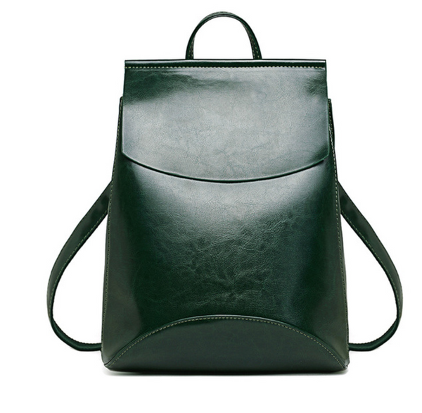 Vegan PU Leather Green backpack rucksack school bag