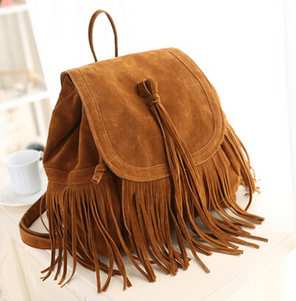 Vegan Suede Tassel PU Leather backpack Tan brown Black bag