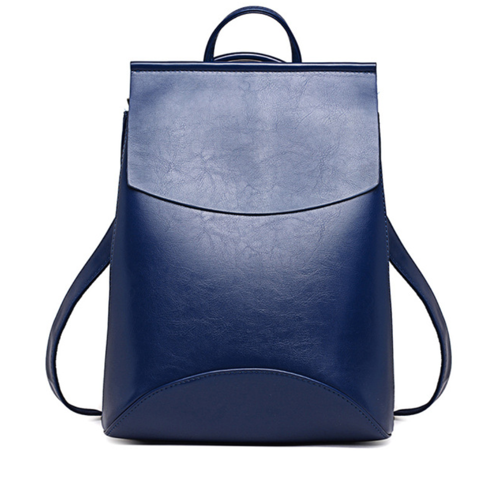 Vegan PU Leather Blue backpack rucksack school bag