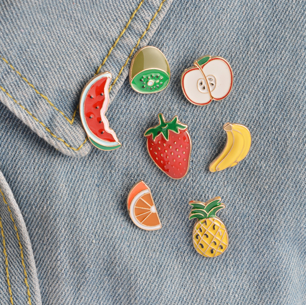 fruit set pin brooch vegan