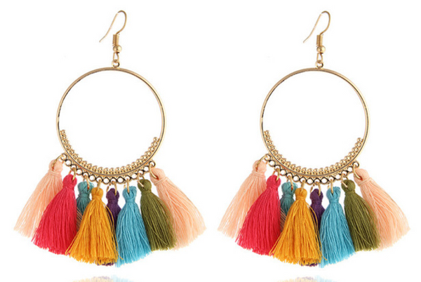Rainbow Tassel festival carnival hoop earrings