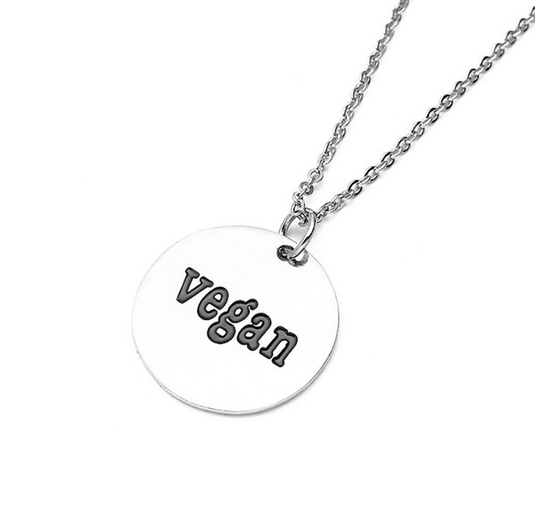 vegan silver tag necklace chain vegan gift