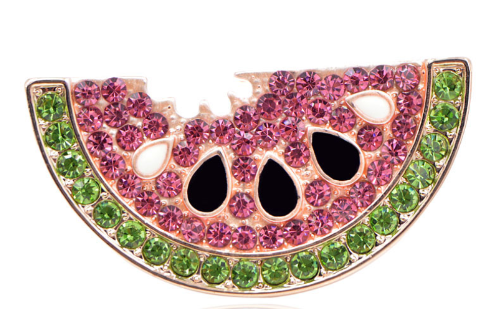 watermelon brooch pin vegan crystals vegan gift