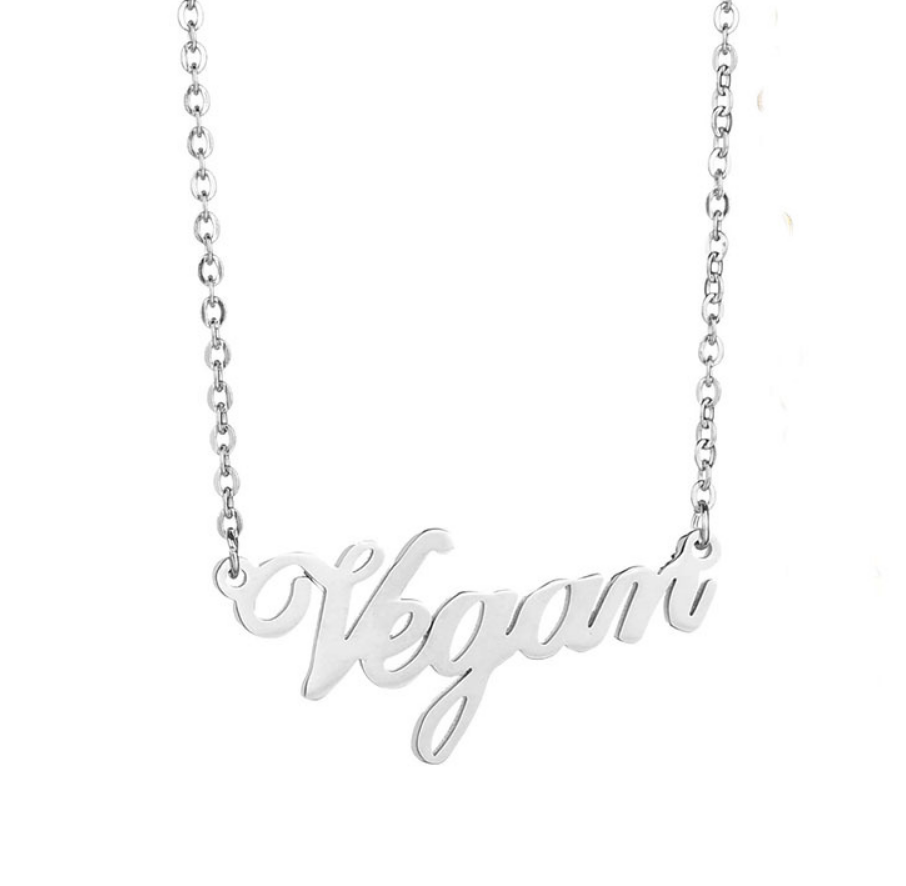 Vegan Script Necklace