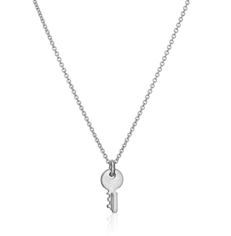 silver key necklace choker