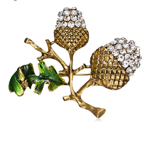 Bronze diamond acorn brooch