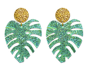 Monstera Acrylic Earrings