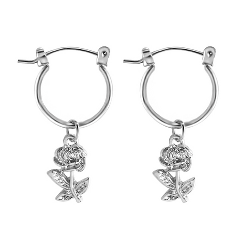 flower charm hoop earrings