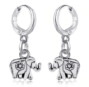 Elephant charm hoops fashion