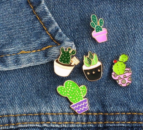 cactus pin set plant jewellery