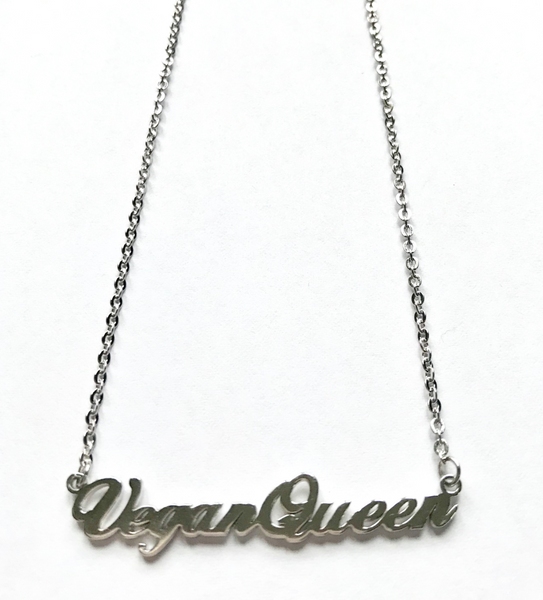 vegan necklace vegan gift vegan queen monogrammed necklace