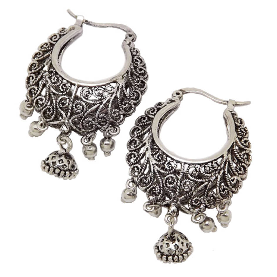 Silver dangle hippy ethnic bohemian Indian gypsy hoop earrings