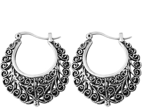Silver filigree ethnic bohemian tribal hoop earrings