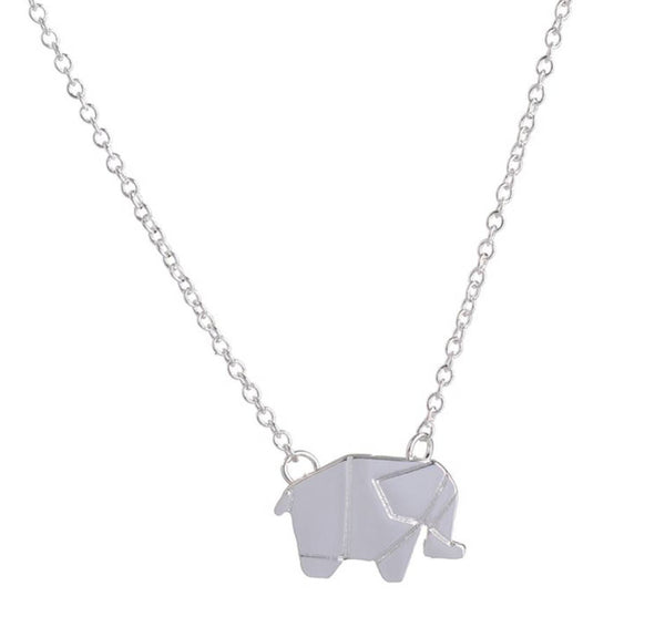 Origami Silver elephant necklace