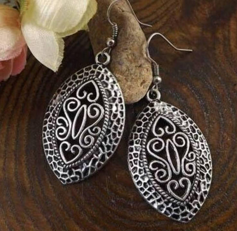 Silver dangle hippy ethnic bohemian gypsy filigree earrings