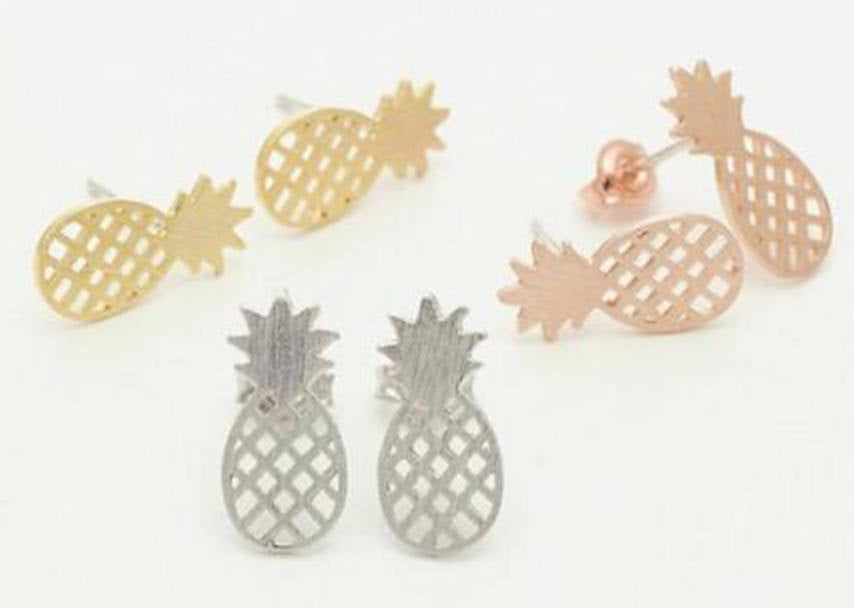 Pineapple vegan earring studs Gold Silver Rose Gold