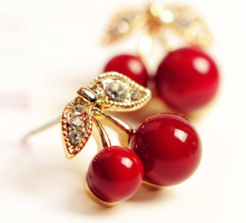 cherry studs fruit jewellery fruit earrings red cherries 1950s vintage crystal earrings funky jewellery child earrings vegan gifts