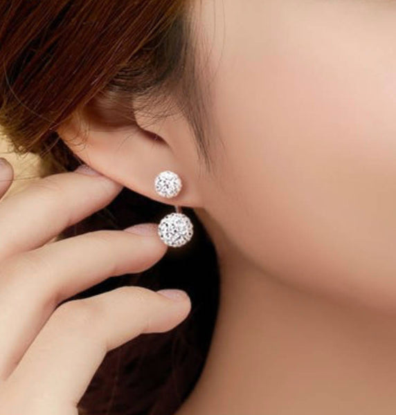 Sammy Double Stud Crystal Earrings