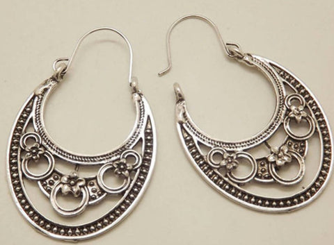 silver flower hippy ethnic hoop earrings