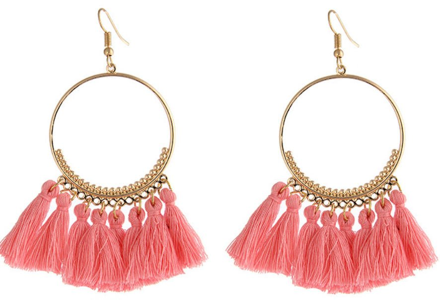 Pink Tassel festival carnival hoop earrings