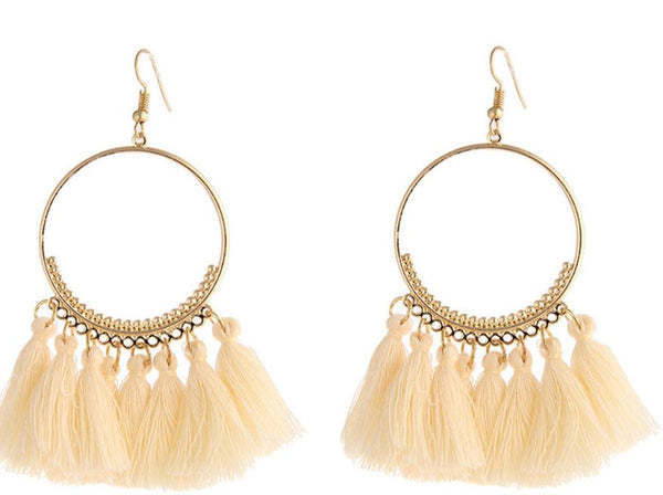 Cream Tassel festival carnival hoop earrings