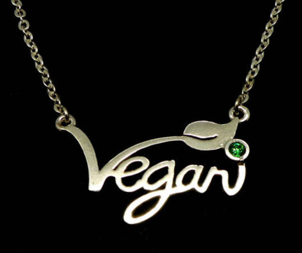 vegan gift charm silver necklace
