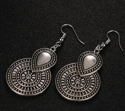 circular bohemian festival tribal ethnic gypsy Silver earrings