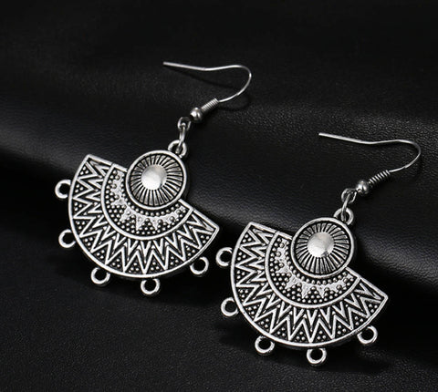 Silver dangle hippy ethnic gypsy fan earrings