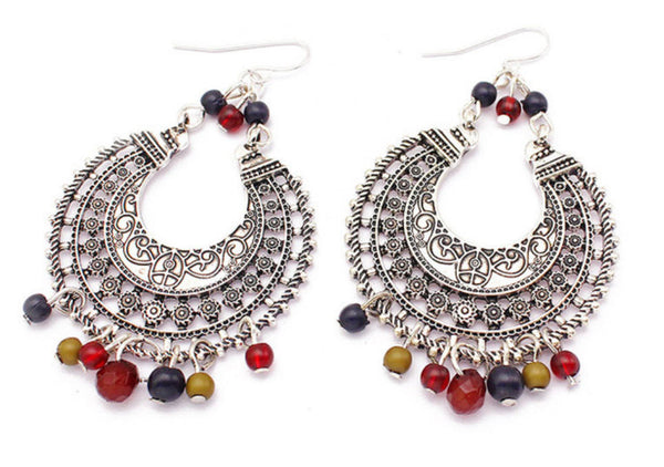 Silver bohemian hippy ethnic Indian festival beaded hoop earrings