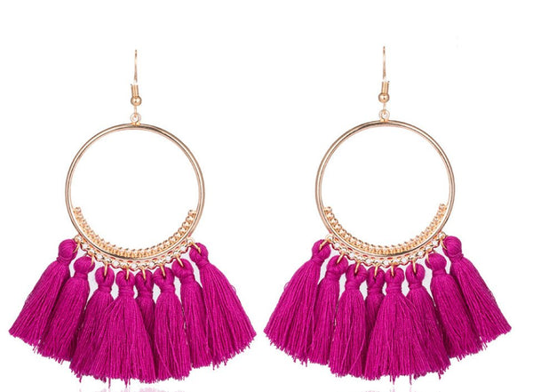 Purple Tassel festival carnival hoop earrings