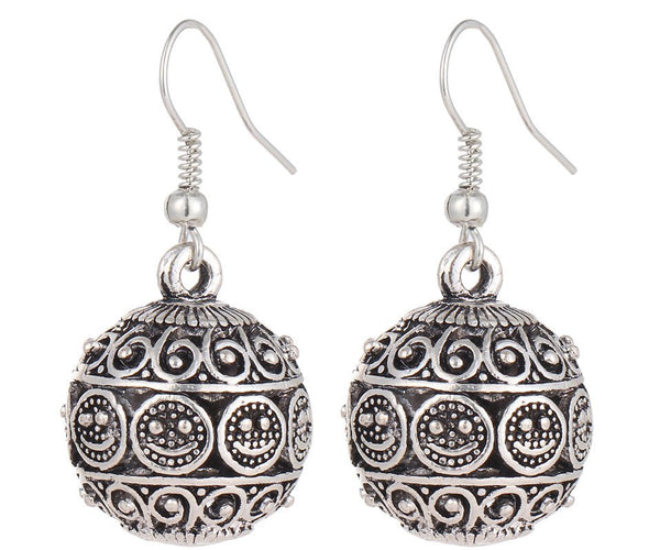 circular silver balinese hippy bohemian ethnic earrings
