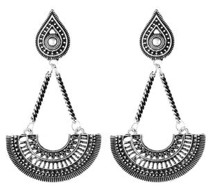 Silver fan ethnic bohemian hippy dangle earrings