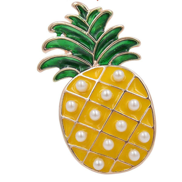 Pineapple vegan fruit yellow brooch pin