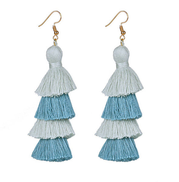 tassel carnival festival dangle blue grey earrings