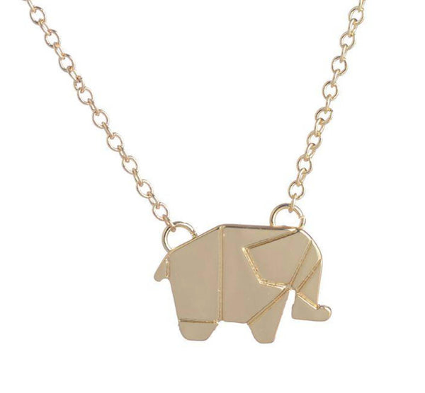 Origami Gold elephant necklace
