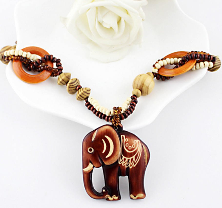 Wooden elephant amber beaded necklace