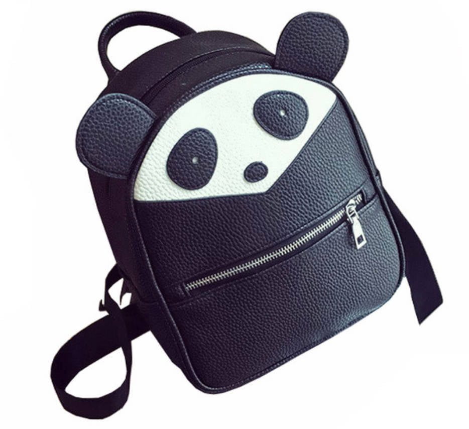 PU Leather vegan panda backpack school bag