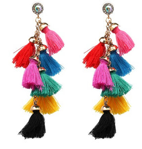 Multicoloured tassel festival carnival funky earrings