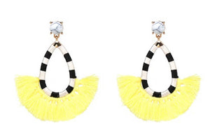 Fan yellow tassel funky earrings carnival earrings festival earrings
