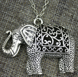 silver filigree Elephant necklace
