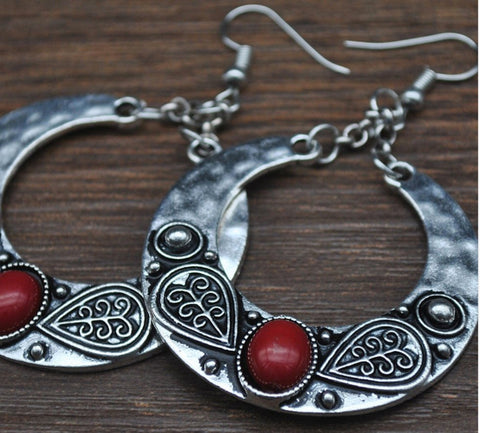 Silver dangle hippy ethnic bohemian gypsy hoop earrings