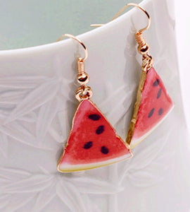 watermelon dangle funky red earrings