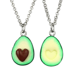 BFF necklace Vegan gift avocado lover funky necklace green fruit best friend gift friends forever necklaces