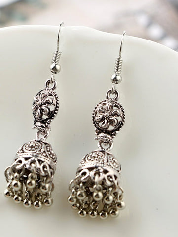 Silver dangle hippy ethnic Indian bohemian gypsy earrings